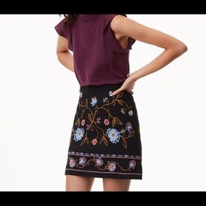 Loft Embroidered Floral Skirt